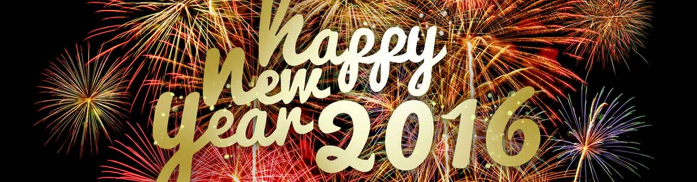 Fireworks and words saying happy new year 2016