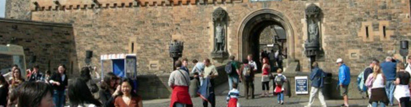 Outside the entrance to Edinburgh Castle