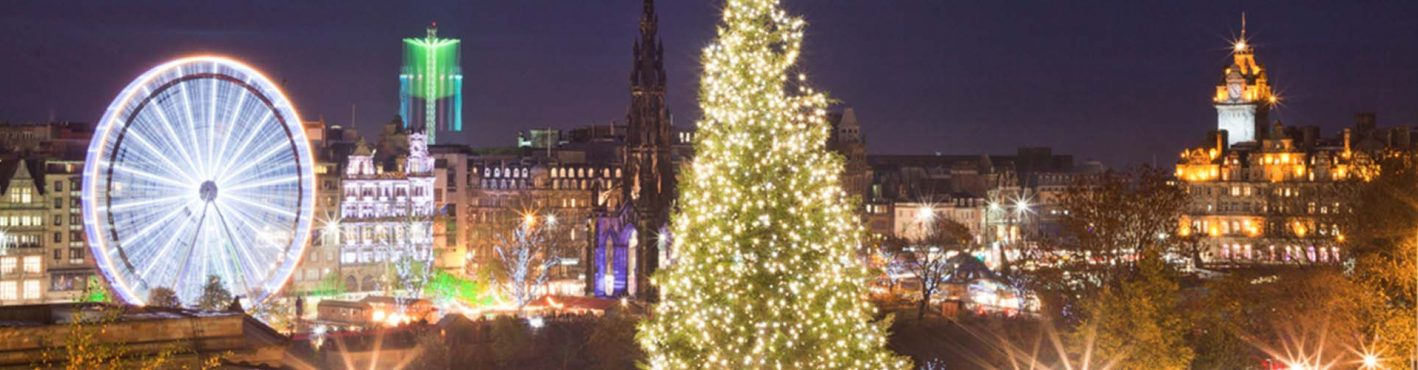 Edinburgh at Christmas with the Big Wheel and Christmas lights