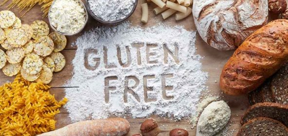 Gluten free products with words gluten free written in flour