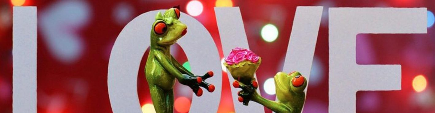 The word love with two toy frogs and one giving the other a bunch of roses