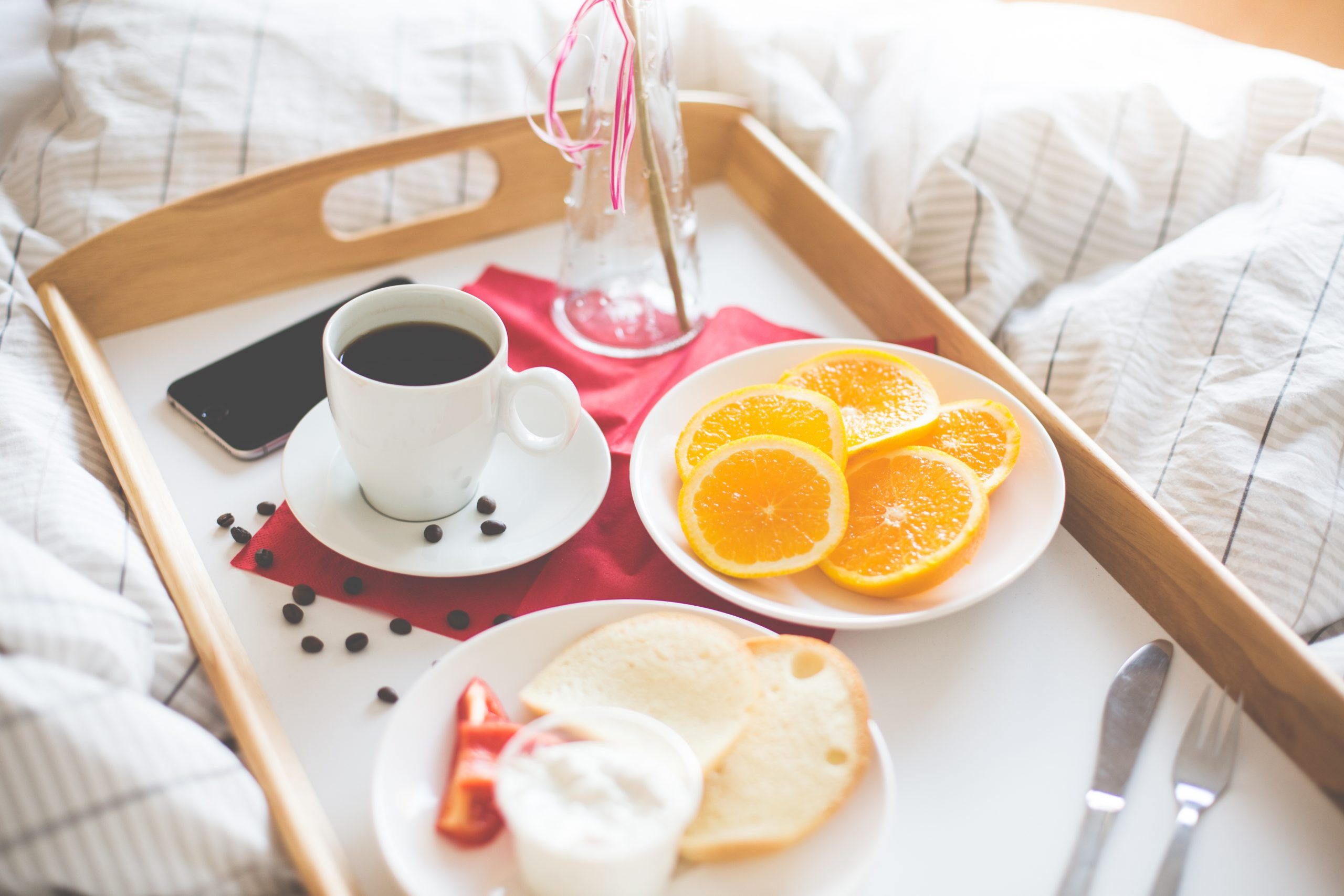 A breakfast tray